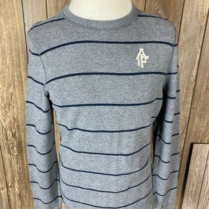 Abercrombie And Fitch Mens Gray Navy Blue Stripe M